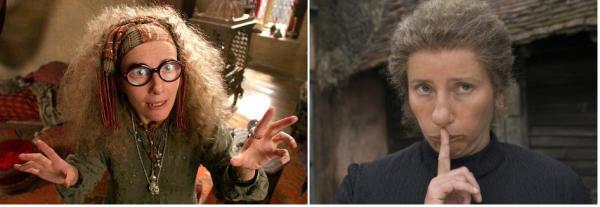 """Emma Thompson como a professora Trilone em """"Harry Potter e o Prisioneiro de Azkaban"""" (2003), """"Harry Potter e a Ordem da Fênix"""" (2007) e em """"Harry Potter e as Relíquias da Morte Parte 2"""" (2011) e como a babá Nanny McPhee em """"Nanny McPhee, a Babá Encantada"""" (2005)"""
