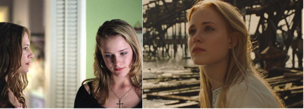 "Evan Rachel Wood, como Tracy Louise Freeland em ""Aos Treze"" (2003) e como  a Lucy de ""Across The Universe"" (2007)"