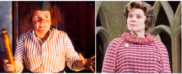 """Imelda Stauton, como a cozinheira em """"Nanny McPhee, a Babá Encantada"""" (2005) e como Doleres Umbridge, em 'Harry Potter e a Ordem da Fênix"""" (2007) e em """"Harry Potter e as Relíquias da Morte Parte 1"""" (2010)"""
