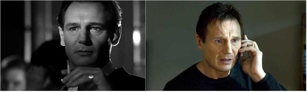 """Liam Neeson, como Oskar Schindler em """"A Lista de Schindler"""" (1993) e Bryan Mills em """"Busca Implacável"""" (2008)"""