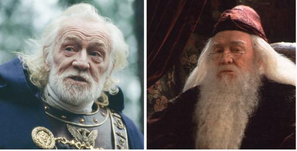 """Richard Harris, como Aurelius em """"Gladiador"""" (2000) e Albus Dumbledor, em """"Harry Potter e a Pedra Filosofal"""" (2001) e """"Harry Potter e a Câmara Secreta"""" (2002)"""