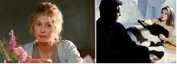 """Rosamund Pike, como Jane Bennet em """"Orgulho e Preconceito"""" (2005) e em """"007 - Um Novo Dia Para Morrer"""" (2002)"""