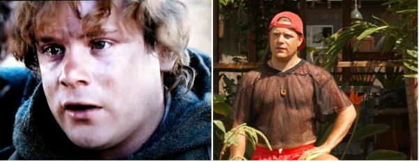 "Sean Astin como Sam, na trilogia ""O Senhor dos Anéis"" (2001, 2002 e 2003) e como o Doug Whitmore de ""Como se Fosse a Primeira Vez"" (2004)"