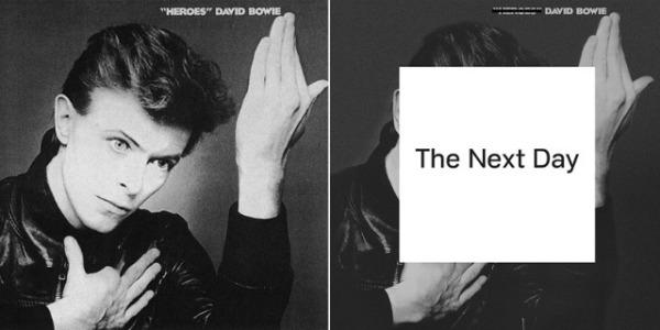 """Capa de """"Heroes"""" (1970) e """"The Next Day"""" (2013)"""